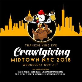 Image for NYC Pub Crawl Thanksgiving Eve 2018 only $20
