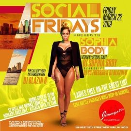 Image for Social Fridays Sophia Body Live At Jimmys NYC