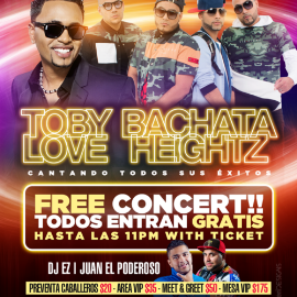 Image for Toby Love & Bachata Heightz livein concert @THE PALACE!!