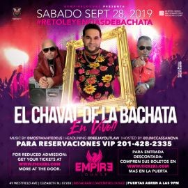 Image for El Chaval De La Bachata LIVE at Empire Lounge!