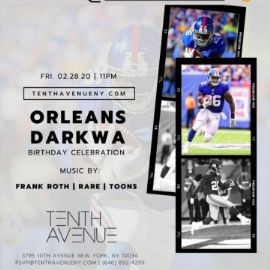 Image for NY Giants Own Orleans Darkwa Birthday Bash At Tenth Avenue