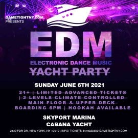 Image for NYC EDM Sunday Sunset Yacht Cruise Skyport Marina Cabana Yacht 2021