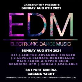 Image for Manhattan EDM Sunday Sunset Yacht Cruise Skyport Marina Cabana Yacht
