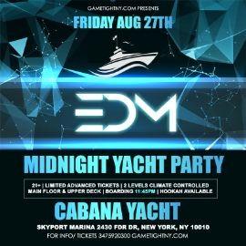 Image for NYC EDM Techno House Friday Midnight Yacht Cruise Skyport Marina Cabana Yacht