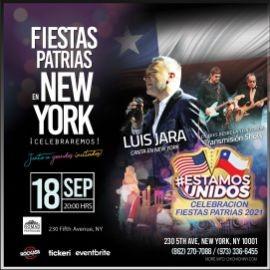 Image for CHILE Fiestas Patrias en New York Show en vivo Luis Jara, Claudia Acuña,  transmision Show Los Tres desde Yein Fonda. Piscolas,  cumbias, cuecas  y muchas más sorpresas
