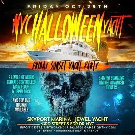 Image for NYC Halloween Friday Sunset Ghost Yacht Cruise Skyport Marina Jewel Yacht