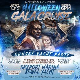 Image for NYC Halloween Gala Cruise Sunday Sunset Yacht Party Skyport Marina Jewel