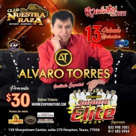 Image for ALVARO TORRES EN CONCIERTO -ROMANTICO TOUR 2021  junto a INTERCIONAL SONARA ELITE - HOUSTON TEXAS
