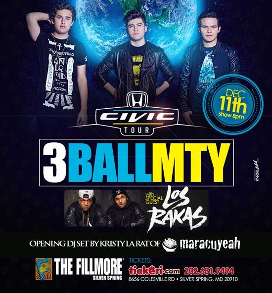 Flyer for 3Ball MTY and Los Rakas concert Maryland