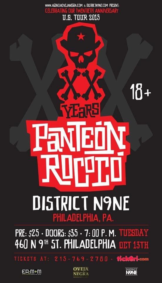 Flyer for Panteon Rococo en Philadelphia