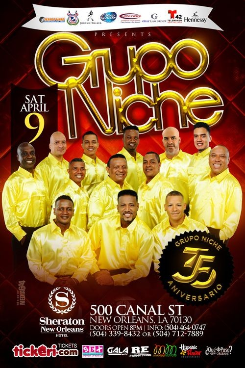 Flyer for LATIN SALSA NIGHT with GRUPO NICHE, CELEBRATING THIER 35 YR ANNIVERSARY