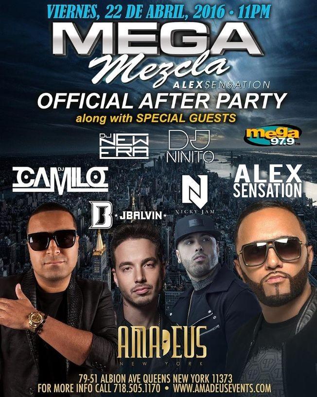 Flyer for Mega Mezala After Party Nicky Jam J.Balvin Maluma Messiah Live With Alex Sensation and DJ Camilo at Amadeus Nightclub