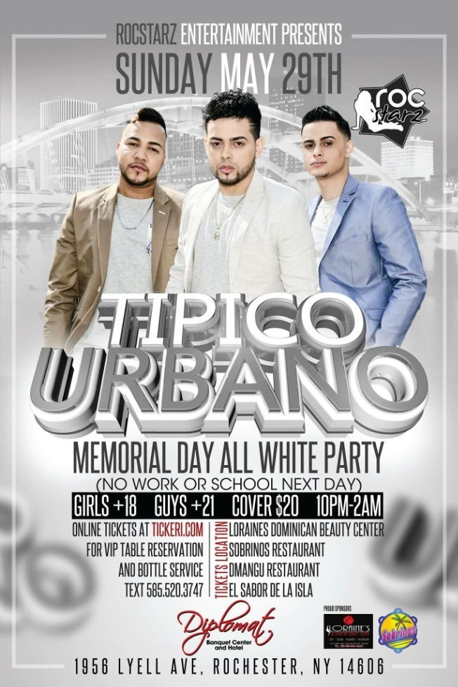 Flyer for TIPICO URBANO MEMORIAL DAY ALL WHITE PARTY