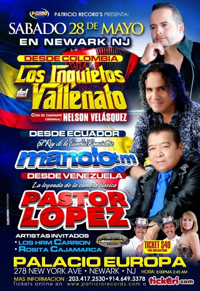 Flyer for Los Inquietos del Vallenato,Manolo, Pastor Lopez en Newark,NJ