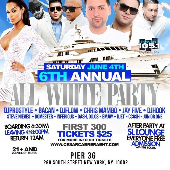 Flyer for 6th Annual All White Boat Party DJ Prostyle Live At Pier 36
