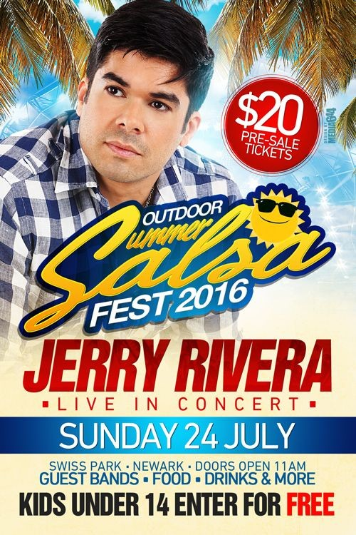 "Flyer for Jerry Rivera in concert @ "" Summer Salsa Festival"