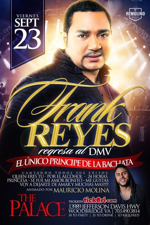 Flyer for Frank Reyes en concierto TICKETS DISPONIBLES EN LA PUERTA