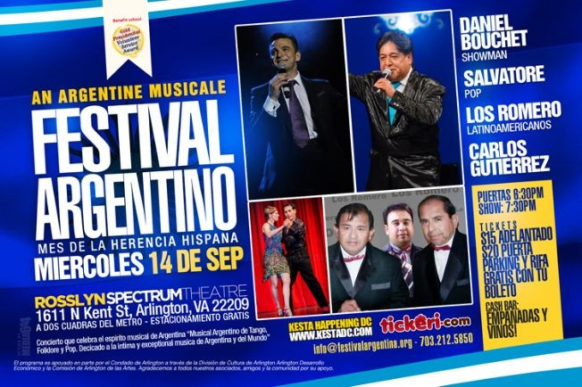 Flyer for ¡An Argentine Musicale of Tango, Folk, Pop in recognition of Hispanic Heritage Month!