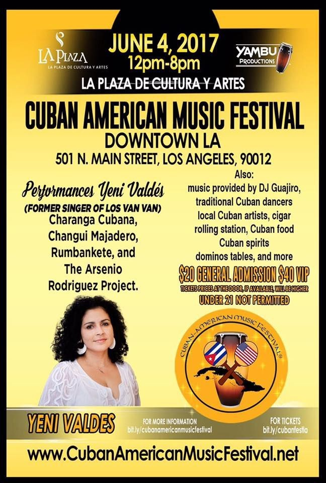 Flyer for Cuban American Music Festival in Los Angeles, CA