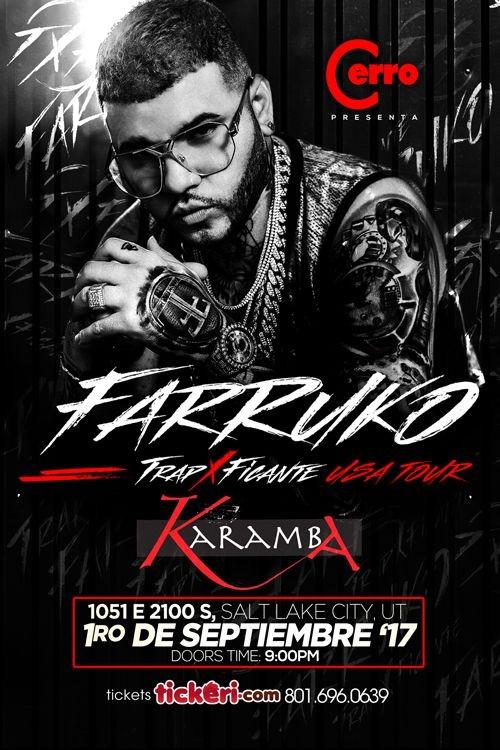 Flyer for Farruko en Club Karamba de Salt Lake City