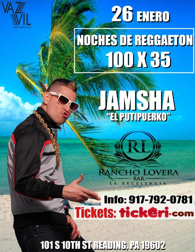 Flyer for Noches De Reggaeton 100 X 35 - JAMSHA