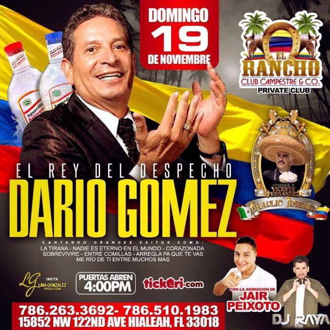 Flyer for DARIO GÓMEZ EL REY DEL DESPECHO