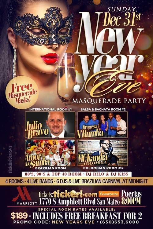 Flyer for New Year Masquerade -  Marriot San Mateo