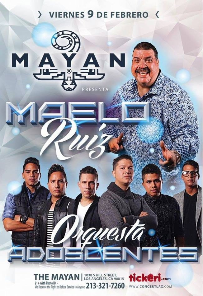 Flyer for Maelo Ruiz & Orquesta Adolescentes en Los Angeles