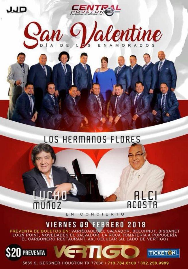 Flyer for Los Hermanos Flores, Lucho Muñoz & Alci Acosta en Houston,TX