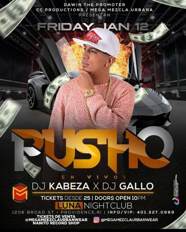 Flyer for Pusho en Providence RI