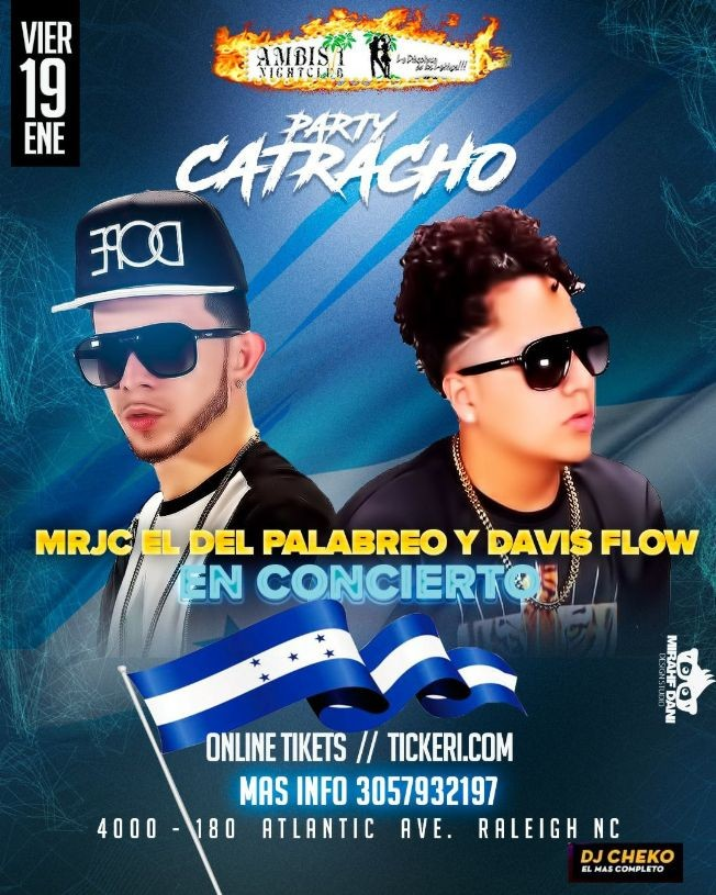 Flyer for Davis flow y Mrjc El del palabreo en concierto Raleigh N.C
