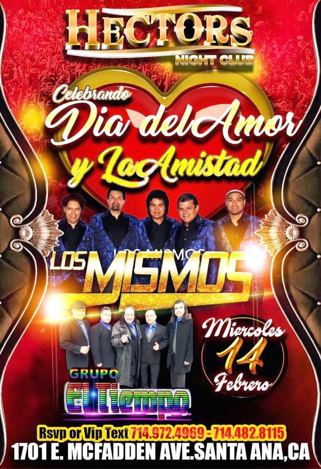 Flyer for Celebrando Dia Del Amor Y La Amistad! Los Mismos! Grupo El Tiempo!