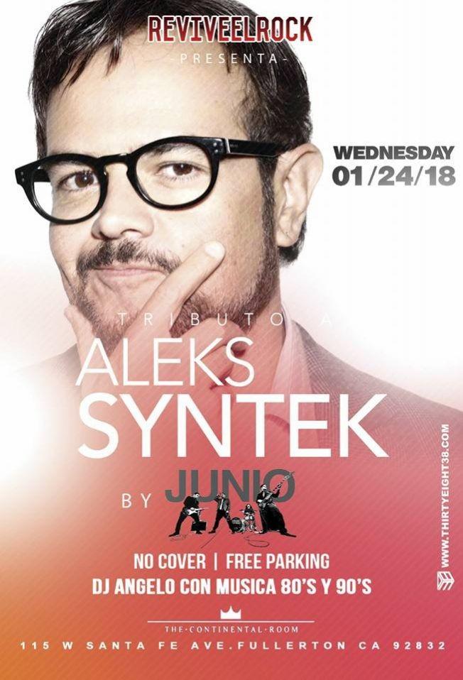 Flyer for tributo a Aleks Syntek en Fullerton