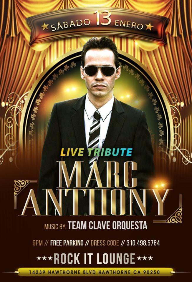 Flyer for Tributo a Marc Anthony en Vivo con Orquesta Team Clave