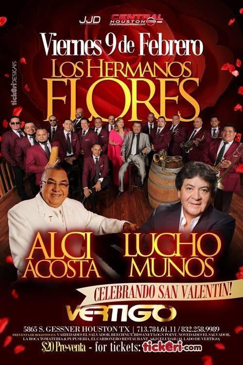 Flyer for LOS HERMANOS FLORES, ALCI ACOSTA Y LUCHO MUÑOZ EN HOUSTON