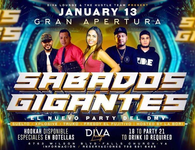 """Flyer for Gran Apertura """"Sabados Gigantes"""" @ Diva Lounge"""