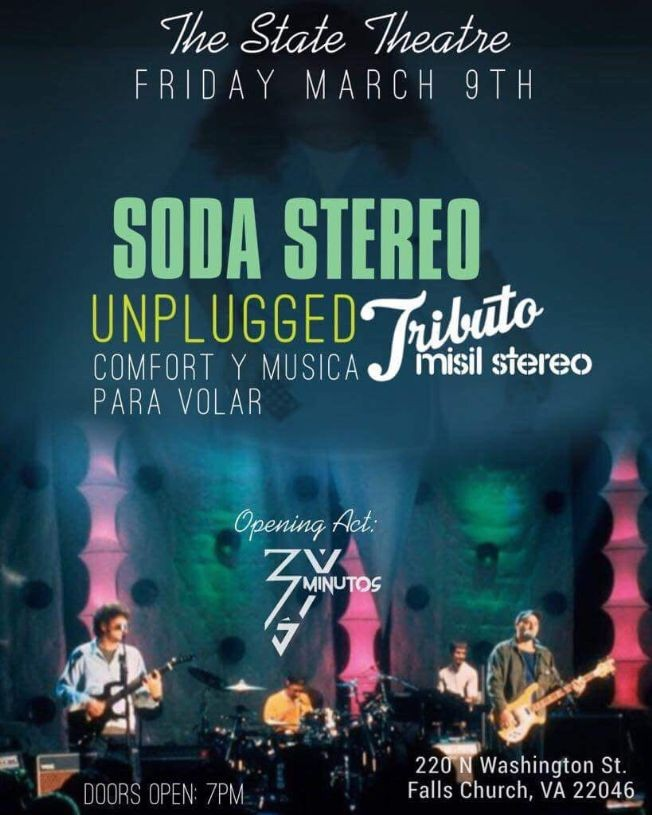 Flyer for Soda Stereo Tributo Misil Stereo Unplugged en Falls Church,VA