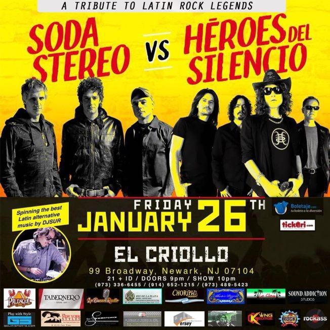 Flyer for Tributo a Soda Stereo vs. Heroes del Silencio en Newark,NJ