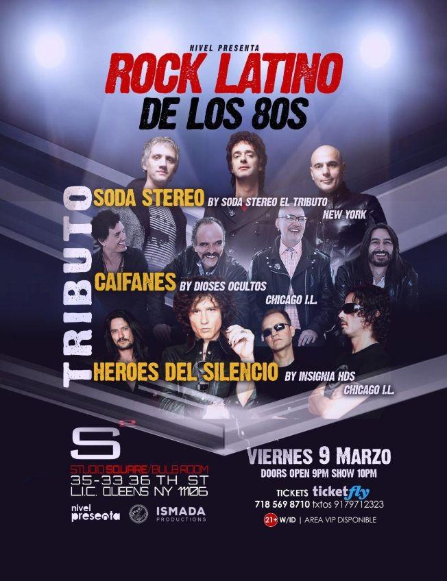 Flyer for Rock Latino de los 80s Tributo a Soda Stereo, Caifanes y Heroes del Silencio