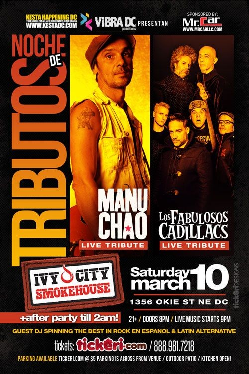 Flyer for NOCHE de TRIBUTOS: Manu Chao Live Tribute & Fabulosos Cadillacs Live Tribute in DC