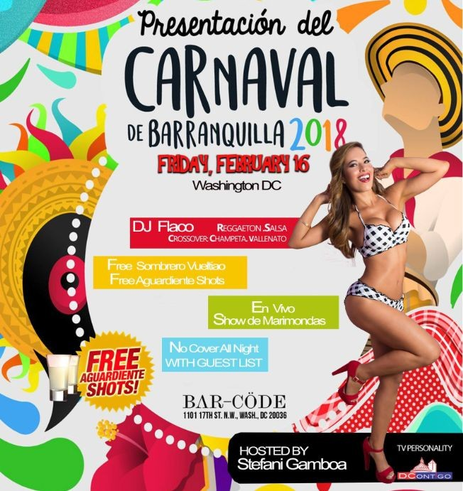 Flyer for Carnaval de Barranquilla 2018 en Washington,DC