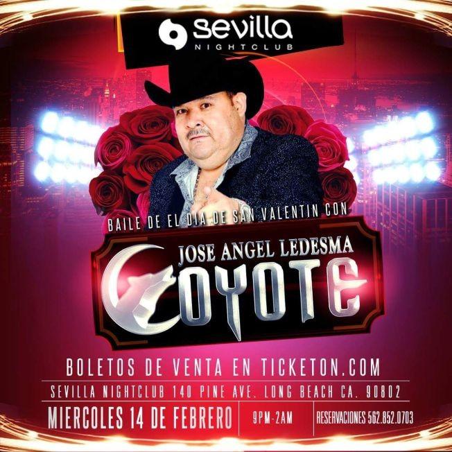 Flyer for Últimos boletos El Coyote y Su Banda en long Beach CA, Sevilla Nightclub