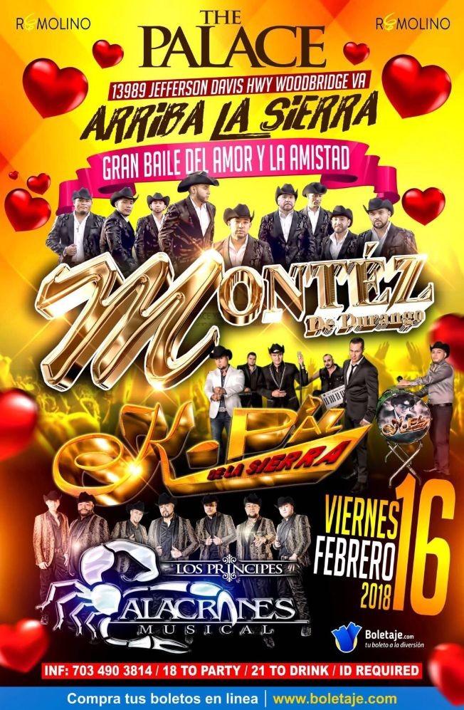 Flyer for Montez de Durango, Alacranes Musical & K-Paz de La Sierra en Woodbridge,VA
