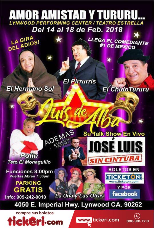 Flyer for Luis de Alba con Amor, Amistad y Tururu