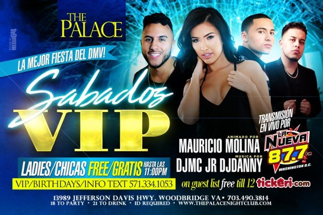 Flyer for The Palace Sabados VIP en Woodbridge,VA