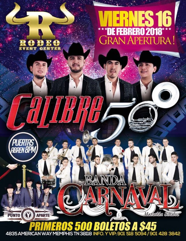 Flyer for Calibre 50, Banda Carnaval y mas