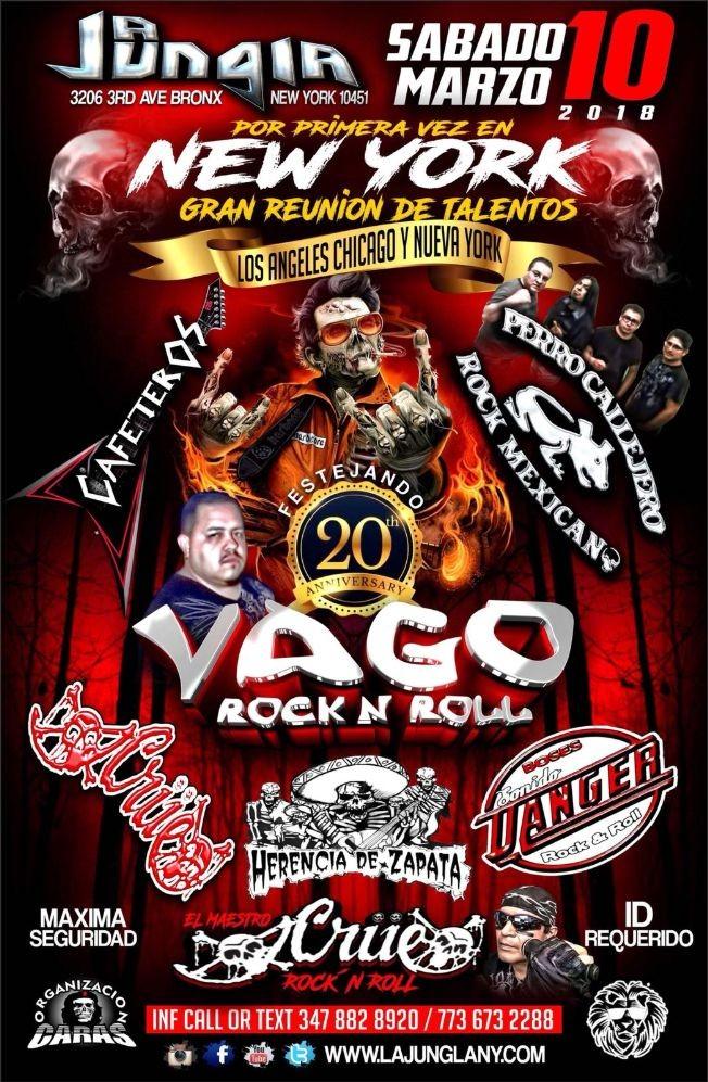 Flyer for Vago Rock n Roll Bronx,NY
