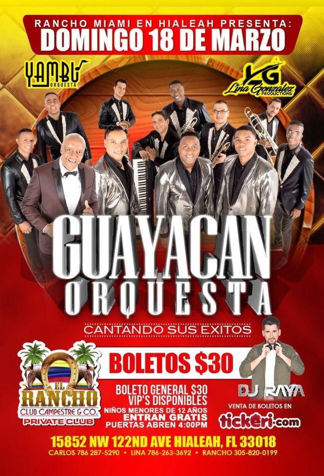Flyer for Orquesta Guayacan en Hialeah,FL
