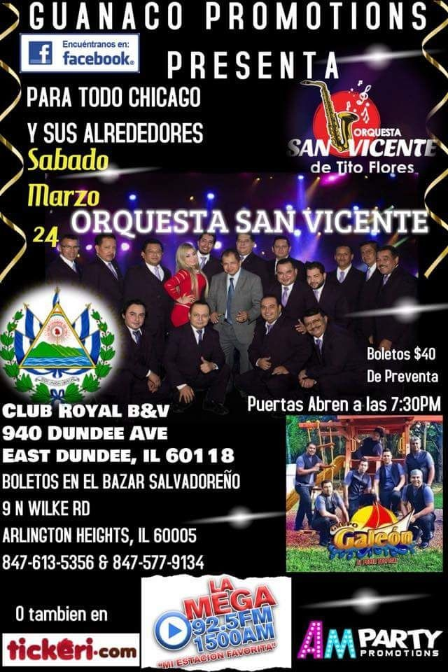 Flyer for Orquesta San Vicente desde El Salvador