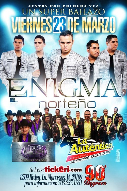 Flyer for Enigma Norteño & La Autentica de Javier Carrillo & Adolfo Urias en Manassas,VA